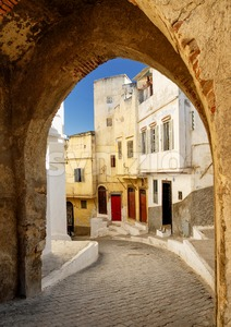 Narrow street in Tangier, Morocco Stock Photo