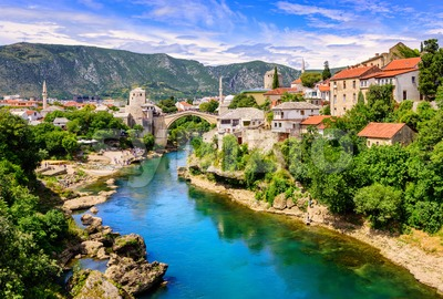 Historical Mostar Old town, Bosnia and Herzegovina Stock Photo