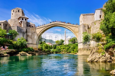 Stary Most bridge in Mostar Old town, Bosnia and Herzegovina Stock Photo