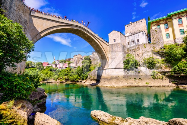 Historical Stary Most bridge in Mostar town, Bosnia and Herzegovina Stock Photo