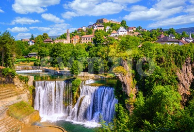 Pliva waterfall in Jajce town, Bosnia Stock Photo