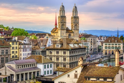 Zurich cathedral and Old town, Switzerland Stock Photo