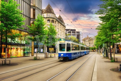 Bahnhofstrasse street in Zurich city center, Switzerland Stock Photo
