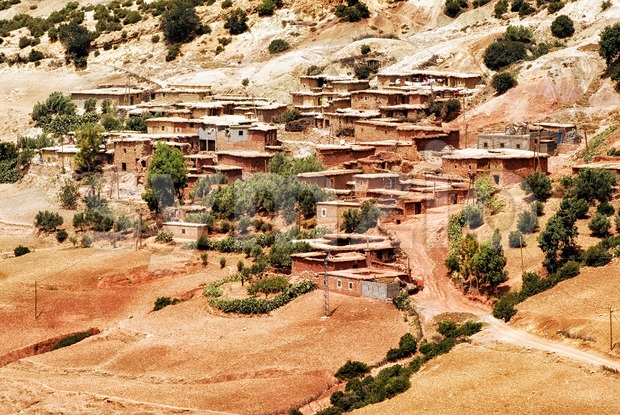 Bedouin village in Atlas mountains, Sahara, Morocco Stock Photo