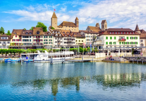 Rapperswil-Jona historical Old town and castle on Zurich lake, Switzerland, is a popular day trip destination from Zurich