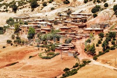 Bedouin village in Atlas mountains, Sahara, Morocco Stock Photo