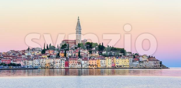 Rovinj historical city on Istria peninsula, Croatia, in sunset light. Rovinj is a popular tourist resort on Adriatic coast of ...