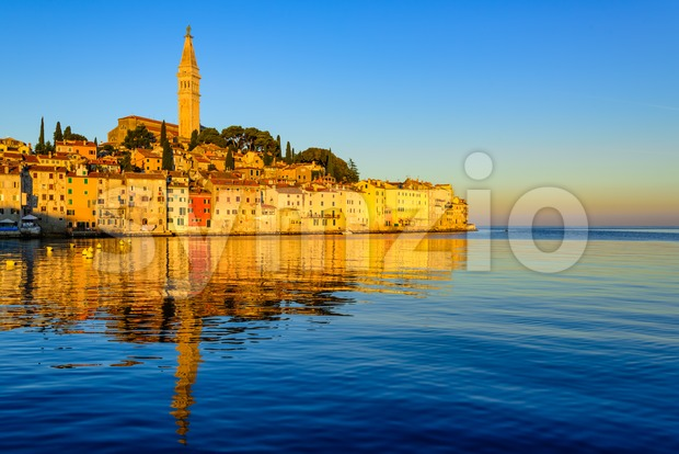 Historical Rovinj Old town, Croatia, on sunrise Stock Photo