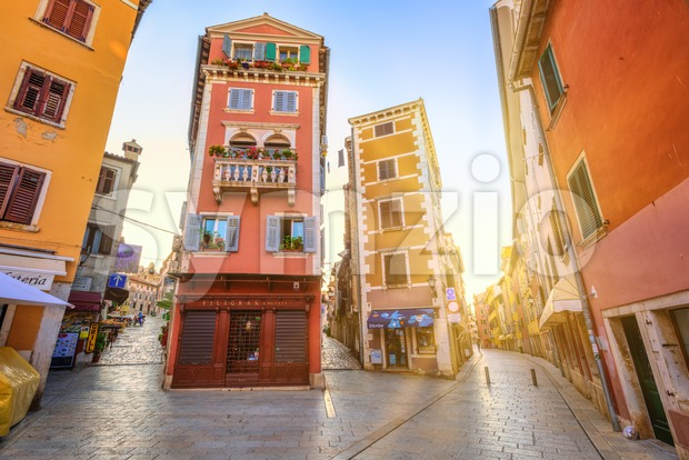 Rovinj, Croatia - 03 August 2016: Historical city center of Rovinj, Croatia, in sunset light. Rovinj is a popular tourist ...