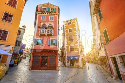 Rovinj historical city ccenter on sunset, Croatia Stock Photo