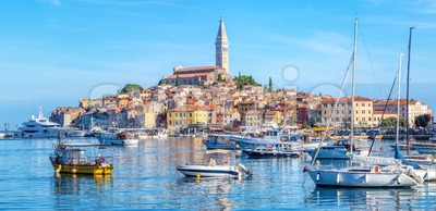 Panoramic view of Rovinj city and harbor, Croatia Stock Photo