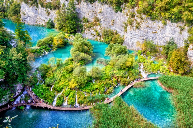 Water path in Plitvice Lakes National Park, Croatia, is a UNESCO World Nature Heritage site
