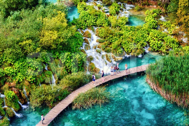 Waterfalls path in Plitvice Lakes National Park, Croatia, is a UNESCO World Nature Heritage site