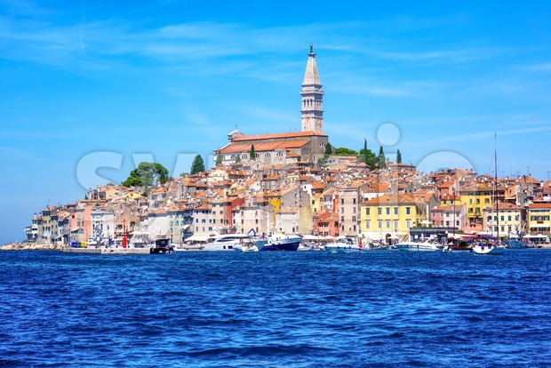 Rovinj historical city on a sunny day, Croatia Stock Photo