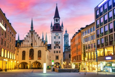 Munic Old town, Germany, on dramatic sunrise Stock Photo