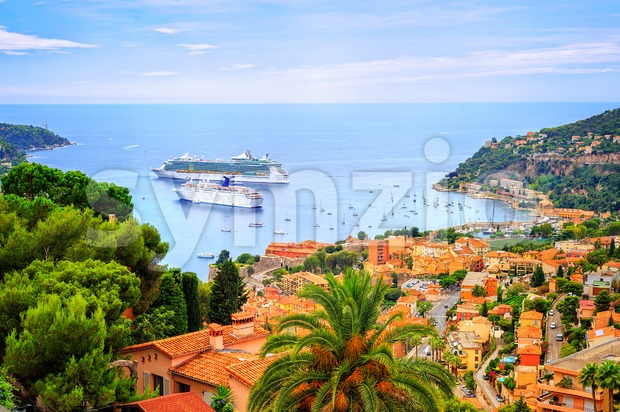 Cruising ships in a lagoon of Villefranche on french Riviera by Nice, France