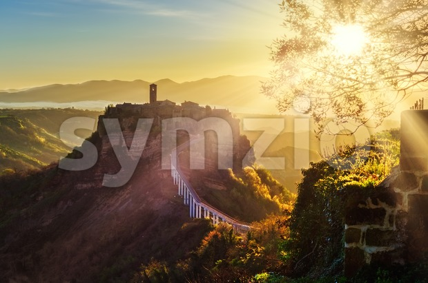 Civita di Bagnoregio, Viterbo, Italy, on sunrise Stock Photo