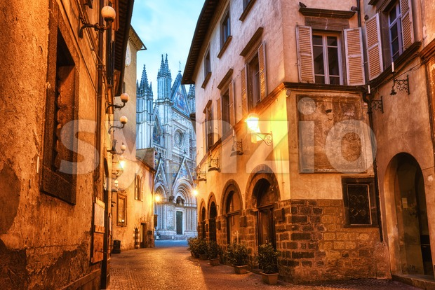 Narrow street in Orvieto Old town, Italy Stock Photo