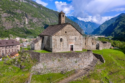 Santa Maria del Castello church in Giornico, Ticino, Switzerland Stock Photo