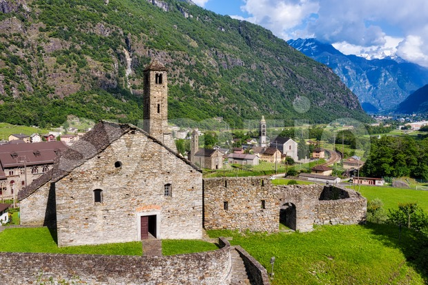 Giornico village in swiss Alps mountains, Ticino, Switzerland Stock Photo