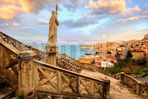 Gaeta town, Italy, on dramatic sunset Stock Photo