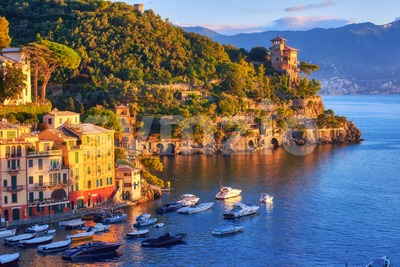 Portofino resort town on Mediterranean sea, Italy Stock Photo