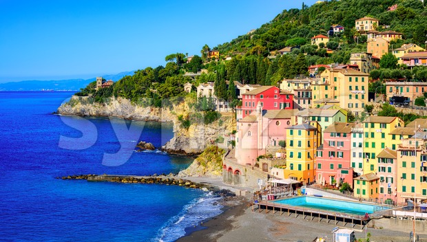 Mediterranean sea coast and traditional colorful buildings in Sori town, Genoa, Ligury, Italy