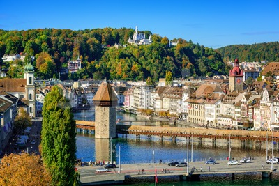 Lucerne city historical Old town, Switzerland, Stock Photo