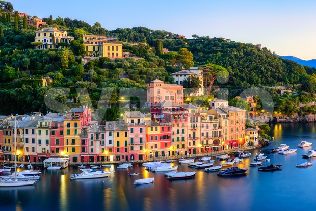 Portofino, Italy, colorful town on Mediterranean coast of Liguria on sunrise