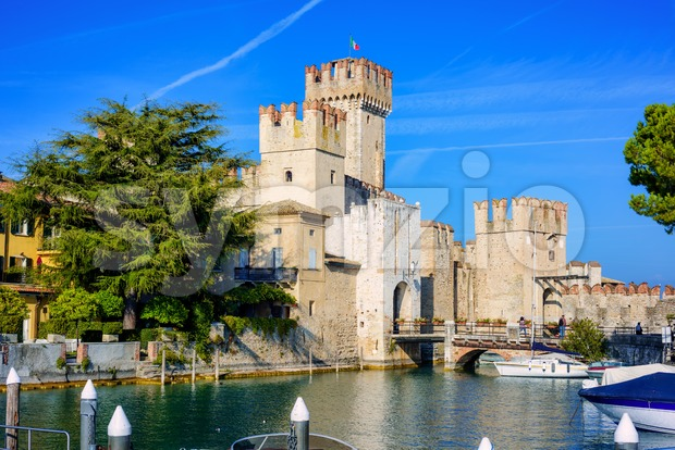 Medieval Scaligero castle in historical town center of Sirmione on Lake Garda, is one of best preserved castles in Italy