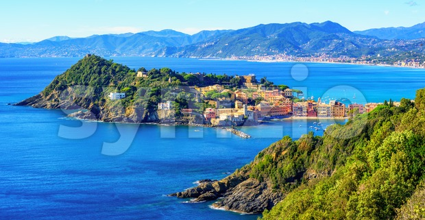 Panoramic view of Sestri Levante resort town on Mediterranean sea coast of Liguria, Italy