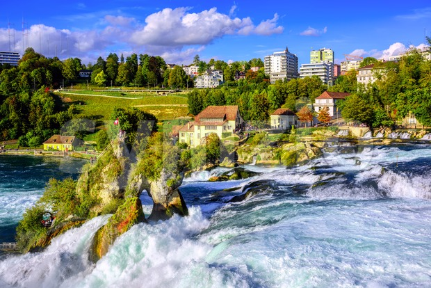 Rhine Falls in Schaffhausen, Switzerland, is the largest waterfall in Europe