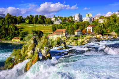 Rhine Falls waterfall in Schaffhausen, Switzerland Stock Photo