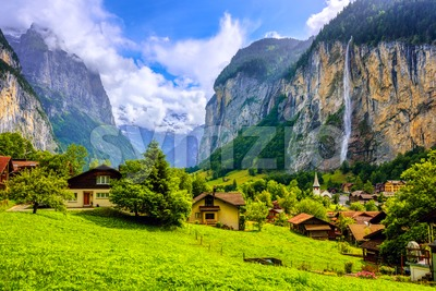 Lauterbrunnen village in an Alps mountains valley, Switzerland Stock Photo