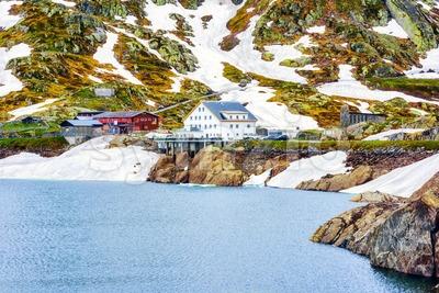 Grimsel pass in swiss Alps mountains, Switzerland Stock Photo