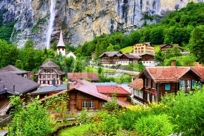Lauterbrunnen historical village in the swiss Alps mountains, Switzerland Stock Photo