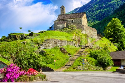 Santa Maria del Castello church in Giornico, Switzerland Stock Photo