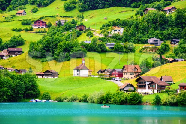 Village on Lake Lungern, Switzerland Stock Photo