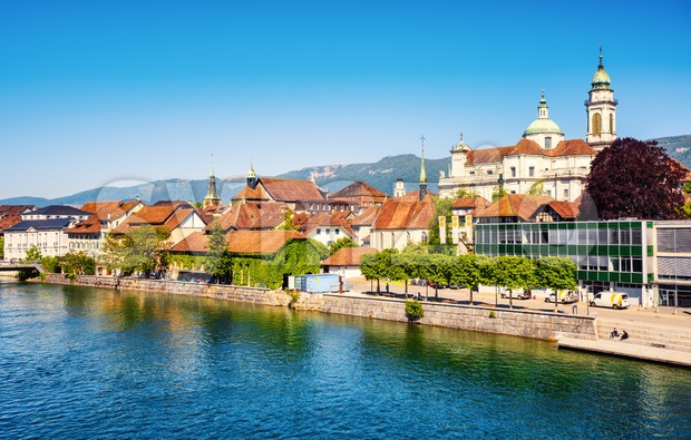 Historical Old town center of Solothurn city on Aare river, Switzerland