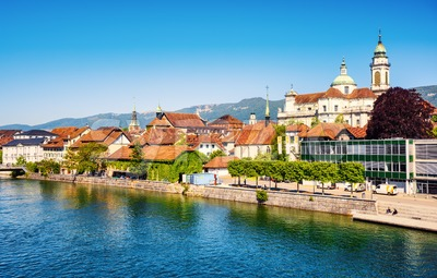 Solothurn city on Aare river, Switzerland Stock Photo