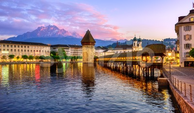 Lucerne city in sunset light, Switzerland Stock Photo