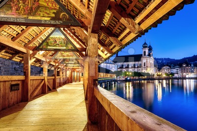 Wooden Chapel bridge in Lucerne city, Switzerland Stock Photo