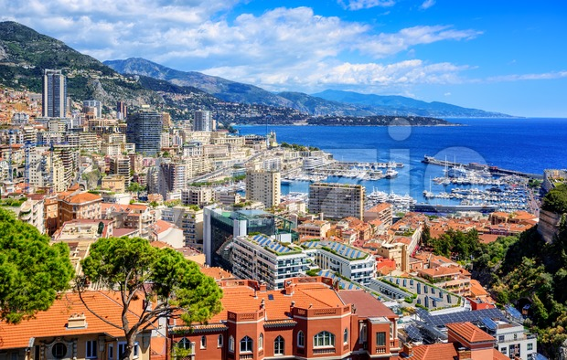 Monte Carlo city skyline, Monaco Stock Photo