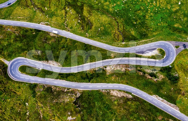 Oberalp pass serpentine mountain road in swiss Alps, Switzerland Stock Photo