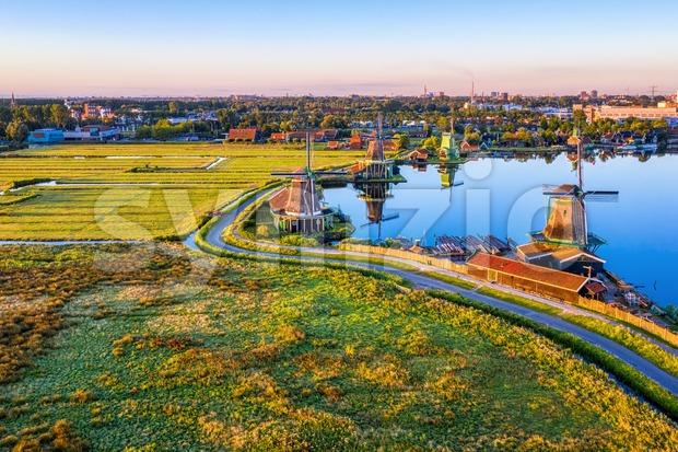 Zaanse Schans windmills landscape, North Holland, Netherlands Stock Photo