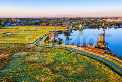 Zaanse Schans windmills landscape, North Holland, Netherlands Stock Photo