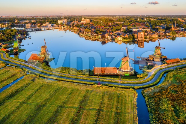 Zaanse Schans windmills, Zaandam, Netherlands Stock Photo