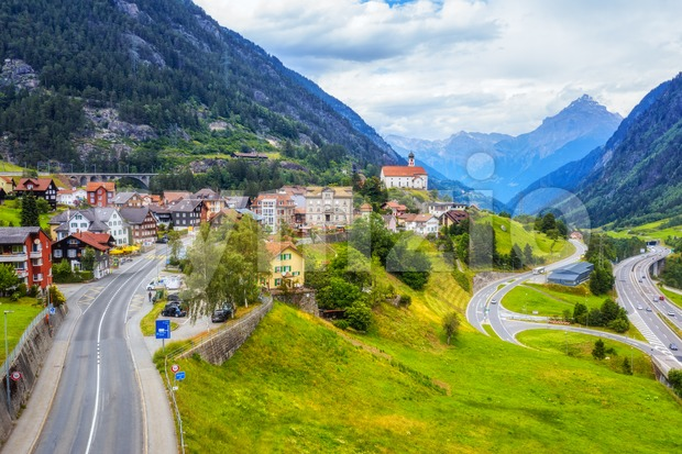 Swiss Alps mountains valley, Switzerland Stock Photo