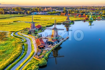 Zaanse Schans windmills in North Holland, Netherlands Stock Photo