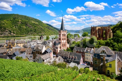 Bacharach, Germany, romantic town on Rhine river Stock Photo